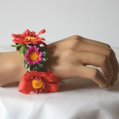 Bracelet with daisies and other flowers, yellow hearts suits any wrist