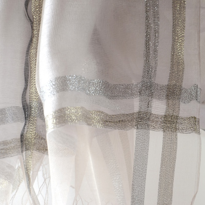 Grey/beige, gold and silver wedding, evening silk organza stole