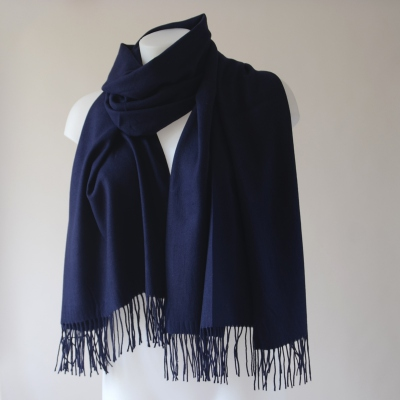 Large navy blue shawl with cashmere, wool and viscose