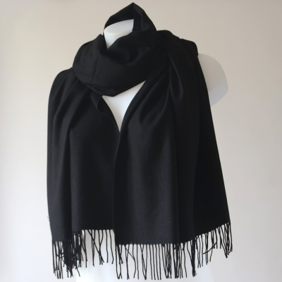 For a wedding or everyday life a cashmere, wool and viscose black shawl