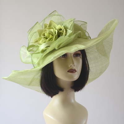 Original lime green sinamay wedding hedband hat