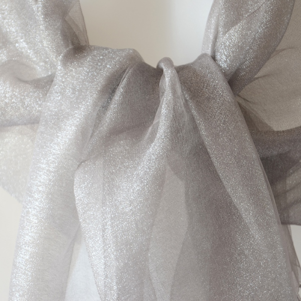 Very dressed-up middle-grey stole - silk organza with lurex