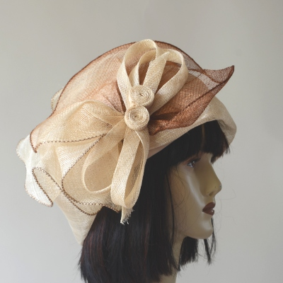 Ivory and ginger brown wedding hat