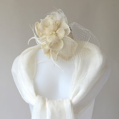 Lovely fascinator with feathers, sinamay flowers and pearls