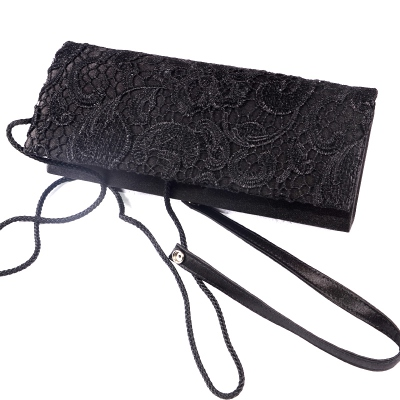 Black satin evening bag with guipure