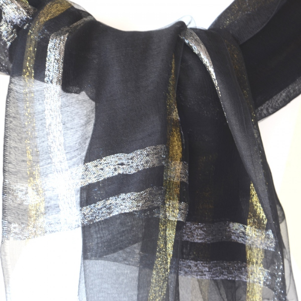 Long wedding foulard, black, gold and silver