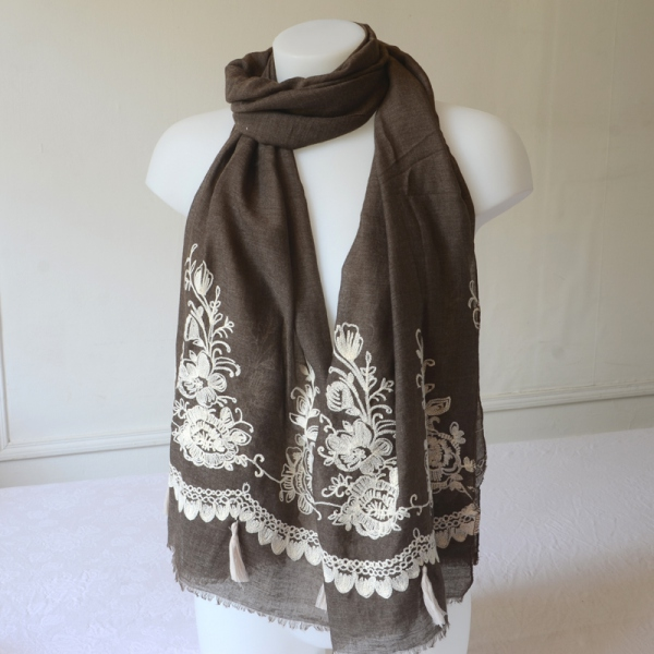 Embroidered shawl, long foulard, long scarf - 2 colours