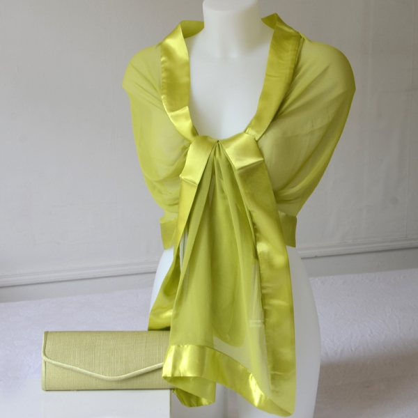 Brilliant anis green for this wedding stole!
