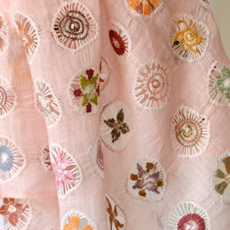 Superb pure linen hand embroidered and hemstiched light pink stole by Sophie Digard