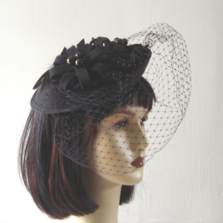 Felt dish hat on headband - royal blue out of stock