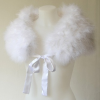 White bolero, wrap with real ostrich feathers