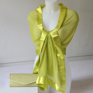 Lime green sinamay and satin evening clutch