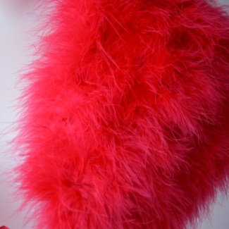 Wedding, evening shawl - red fuchsia with ostrich feathers