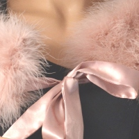 Wedding, evening wrap - dust pink - real ostrich feathers