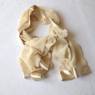 """Silk and satin stole """"champagne"""""""