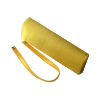 Yellow satin evening clutch