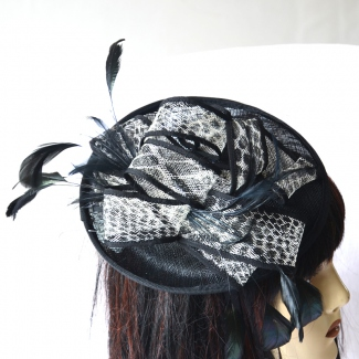 Wedding two-coloured sinamay fascinator