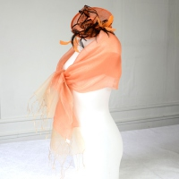 Long wedding, evening orange/salmon silk organza and lurex stole