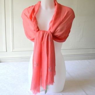 Long and large foulard - peal grey or coral pink viscose