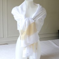 White, gold and silver wedding evening stole