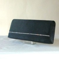 Long evening clutch - off-white or black satin with rhinestones