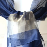 Wedding, evening stole - navy with a gold stripe