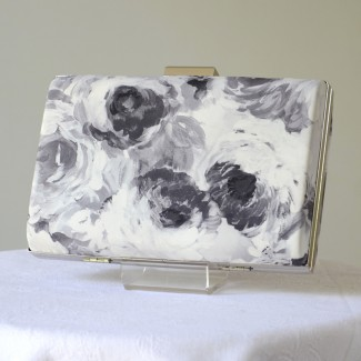 "Wedding, evening clutch ""Elena"" - off-white, grey and black hues"