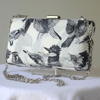 "Box bag for evenings or weddings - with greyish birds - ""Paradise"""