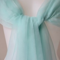 Long and wide light blue/green turquoise stole - 100 % chiffon