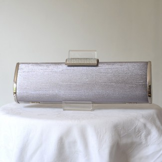 Long evening, wedding clutch/box - light or dark grey shangtung