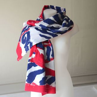 Pareo foulard Jean Patou fuchsia and navy