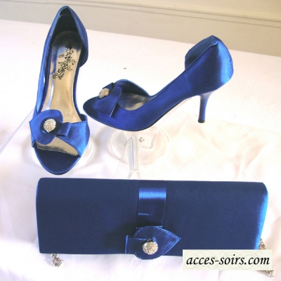 Evening royal blue satin shoes with a rhinestones jewel