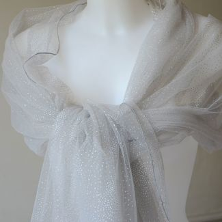 """Wedding, evening stole - """"1001 nights"""" - middle grey with silver dots"""