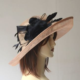 Wedding hat - camel and black
