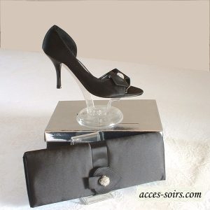 Black satin evening shoes with rhinestones