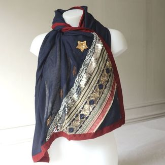 Long and wide navy shawl with gold and silver embroideries