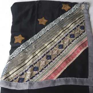 Long black shawl with gold and silver embroideries