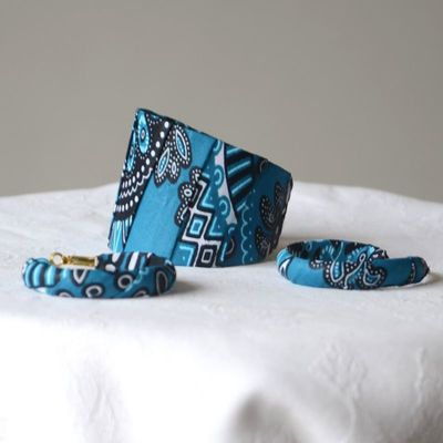 Perfect match of bracelet and hoop earrings - african wax