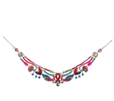 "Ayala Bar necklace ""Rowan Passion"" - fuchsia, green, blue, gold"