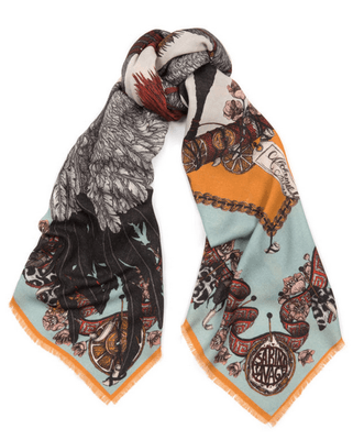 "Sabina Savage square scarf - 135/135 cm - wool and silk - ""Cranes of Canton"""