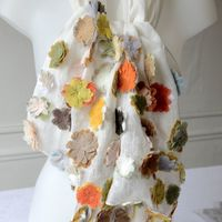 Sophie Digard creations - Large stole, off-white linen veil with relief vivid flowers