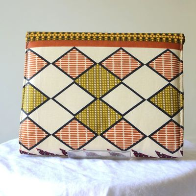 Clutch, small bag - African wax with arrows and checkerboard pattern