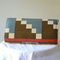 "Long rectangular clutch - African wax - ""Abstract Gitter"""
