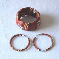 African wax jewel set - bracelet and creole earrings