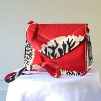 Wax clutch - almost square - red, cream and black