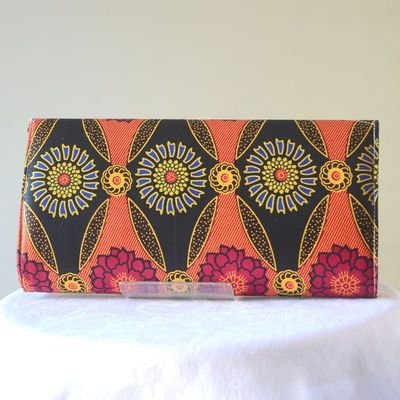 Wax long clutch, hand bag - fuchsia, orange, black, yellow