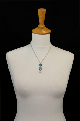 Necklace neck pendant Ayala Bar - light turquoise beads, light green and red fabrics