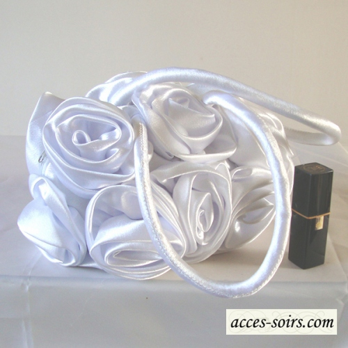 White satin evening or wedding aumonière