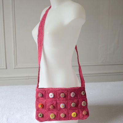 Shoulder bag - tote bag Sophie Digard - fuchsia raffia - hand crafted