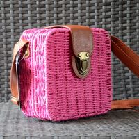 Little handbag style briefcase - natural paper straw - black, fuchsia or natural